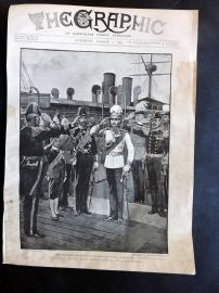 The Graphic 1897 Antique Print. Royal Guest from Siam. Arrival at Portsmouth